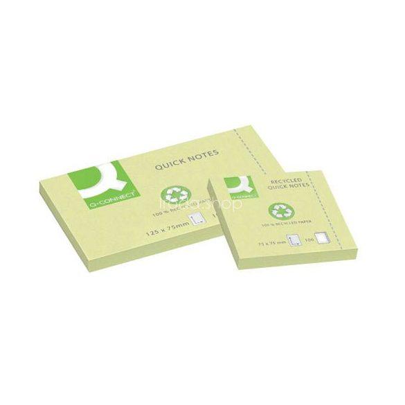 Öntap. jegyzettömb 76x127mm recy Q-Connect sárga KF05610