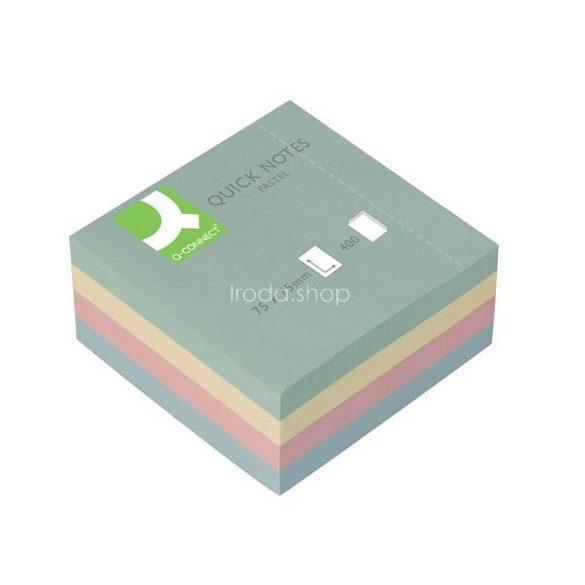 Öntap. jegyzettömb 76x76mm 400lap színes p. Q-Connect KF01347