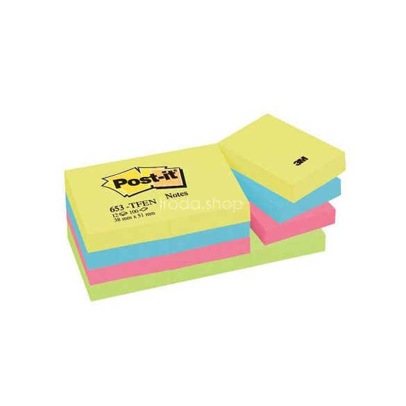 Post-it 653TFEN 38x51mm 100lap 12 tömb energikus színek