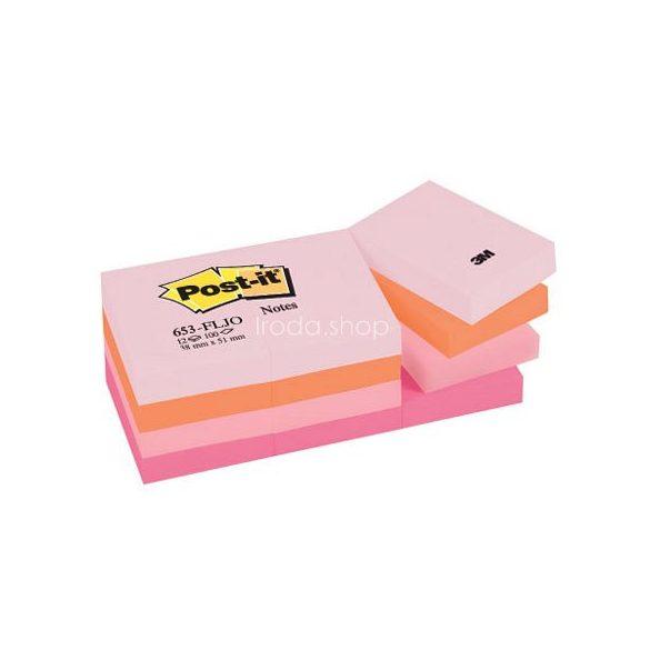 Post-it 653FLJO/653FL 38x51mm 100lap 12tömb p.pink 653P