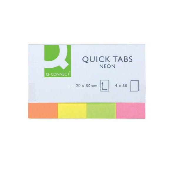 Öntap. oldaljelölő 20x50mm 4x40lap papír Q-Connect KF01226