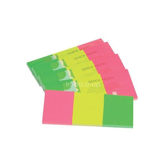 Öntap.oldaljelölő neon 38x51mm 3x40lap papír Q-Connect KF01224
