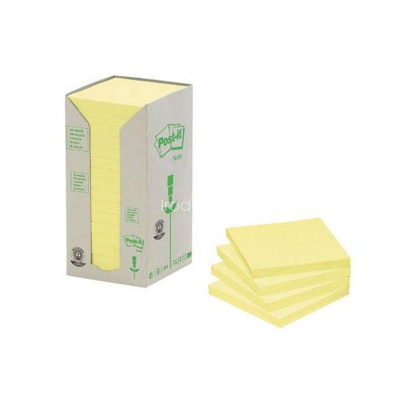 Post-it 654-1T 76x76mm 16x100lap/csm GreenLine sárga