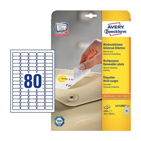 Etikett címke speciális L4732REV-25 visszaszedhető 35,6x16,9mm Avery