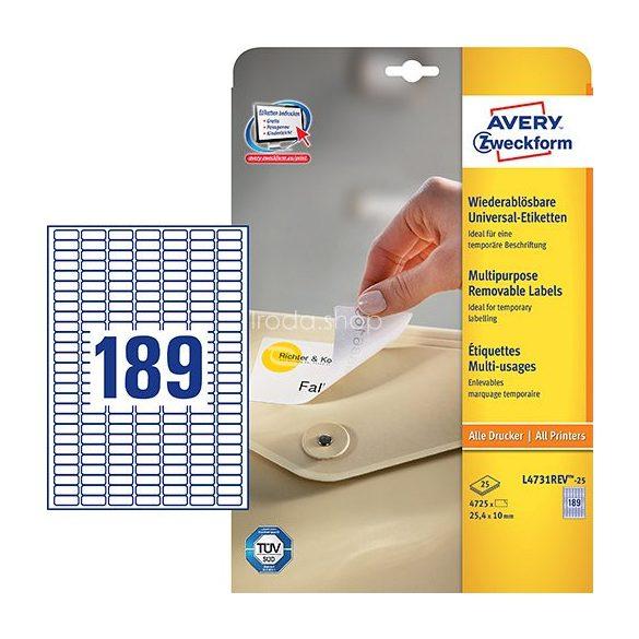Etikett címke speciális etikett L4731REV-25 visszaszedhető 25,4x10mm Avery