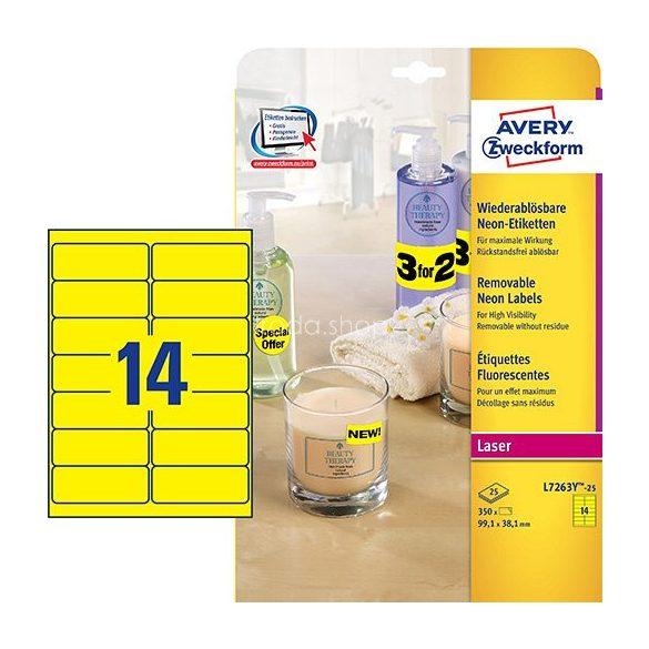 Etikett címke speciális visszaszedhető L7263Y neonsárga 99,1x38,1mm 25 ív Avery
