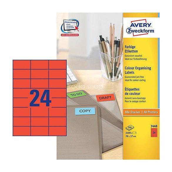 Etikett címke speciális 3450 70x37mm 100ív Avery (piros)