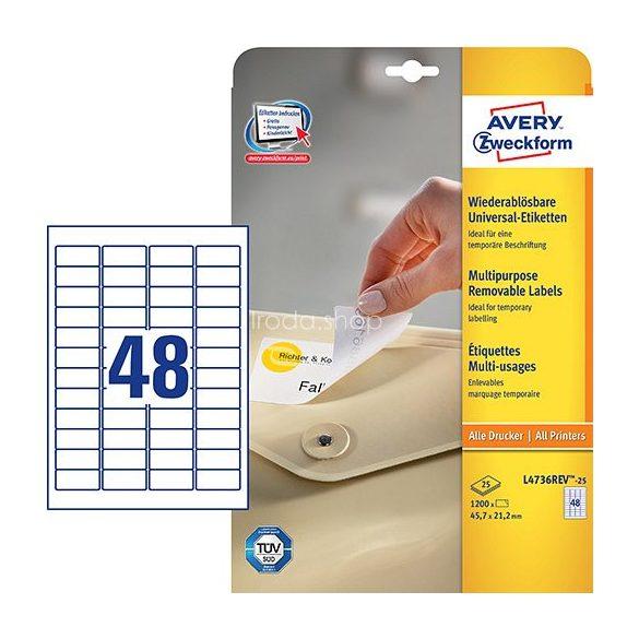 Etikett címke speciális L4736REV-25 visszaszedhető 45,7x21,2mm 25ív Avery