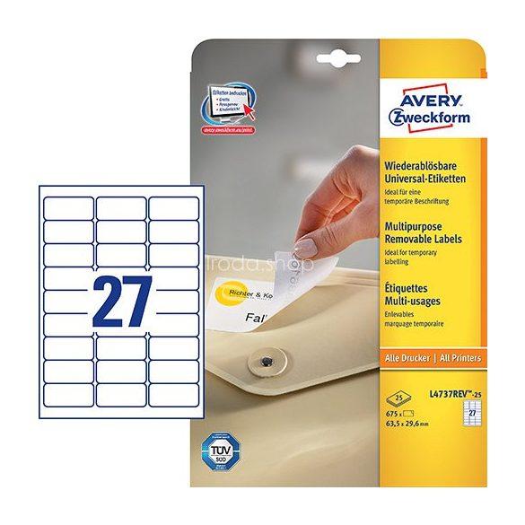 Etikett címke speciális L4737REV-25 visszaszedhető 63,5x29,6mm 25ív Avery