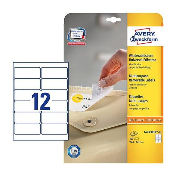 Etikett címke speciális L4743REV-25 visszaszedhető 99,1x42,3mm 25ív Avery