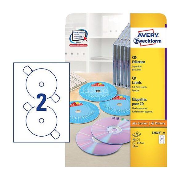 Etikett címke Media L7676-25 CD SuperSize 117mm 25ív Avery