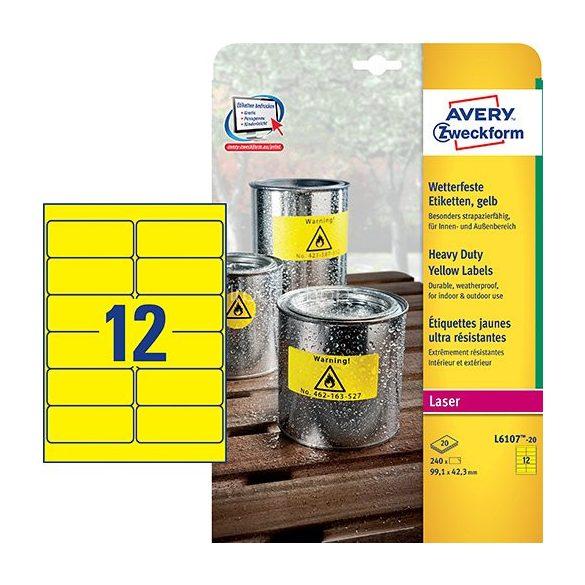 Etikett címke speciális L6107-20 fólia időjárásálló sárga poliészter 99,1x42,3mm 20ív Avery