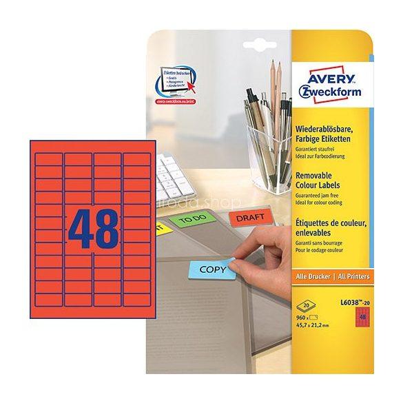 Etikett címke speciális L6038-20 visszaszedhető piros 45,7x21,2mm 20ív Avery