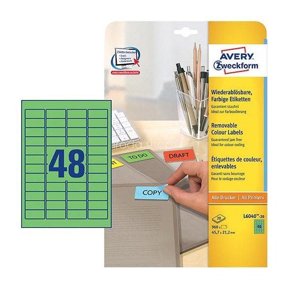 Etikett címke speciális L6040-20 visszaszedhető zöld 45,7x21,2mm 20ív Avery