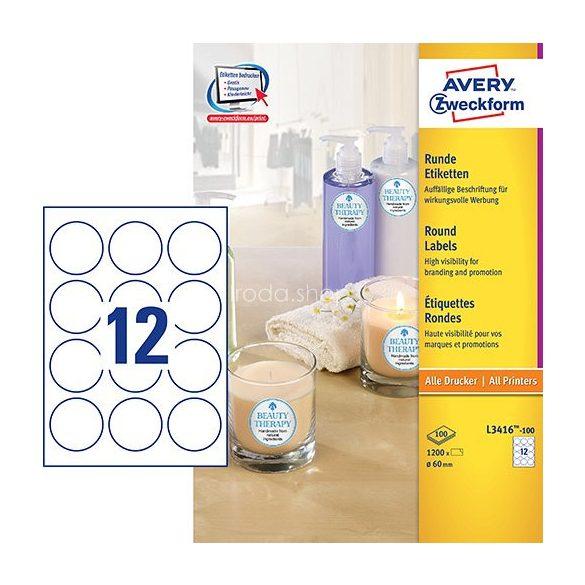 Etikett címke speciális L3416-100 fehér kör 60mm 100ív Avery