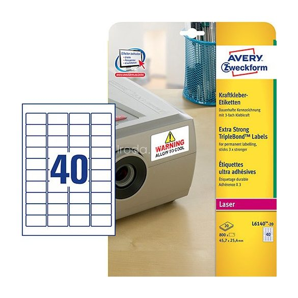 Etikett címke speciális L6140-20 3x erősebb tapadás 45,7x25,4mm 20ív Avery