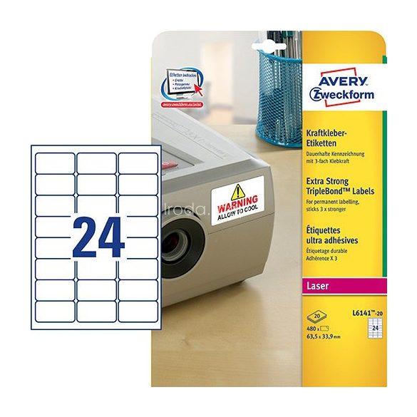 Avery Etikett címke speciális L6141-20 3x erősebb tapadás 63,5x33,9mm 20ív