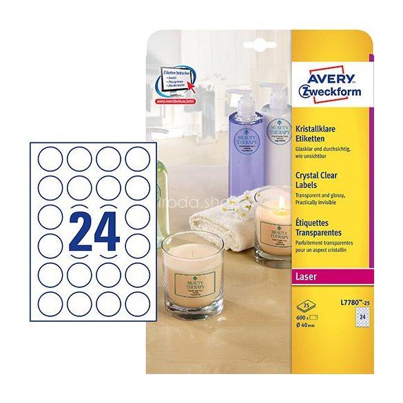 Avery Etikett címke speciális L7780-25 víztiszta átlátszó kör 40mm 25ív
