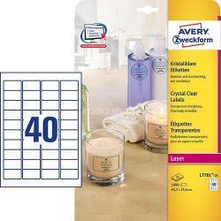 Avery Etikett címke speciális L7781-25 víztiszta átlátszó 45,7x25,4 25ív