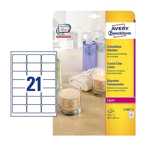 Avery Etikett 7782-25 63,5x38,1 víztiszta 25ív