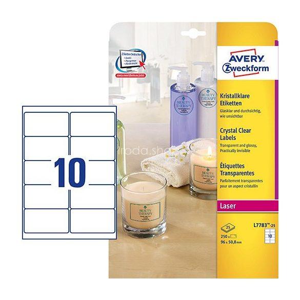 Avery Etikett címke speciális L7783-25 90x50,8 víztiszta 25ív