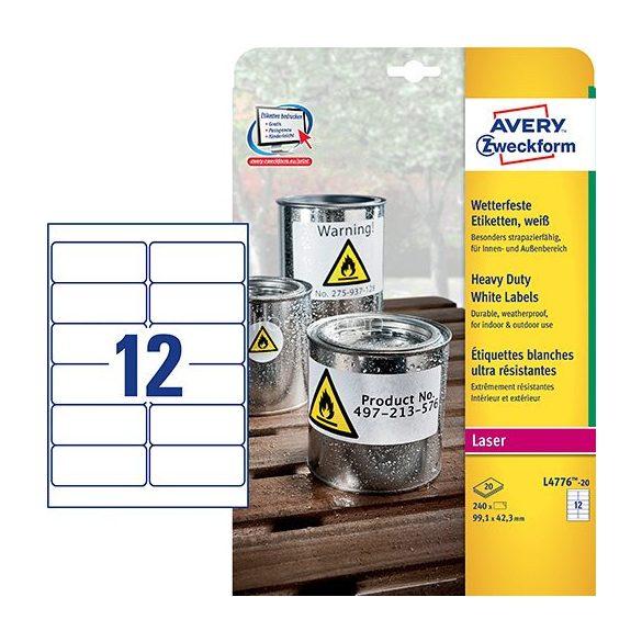 Etikett címke speciális L4776-20 időjárásálló 99,1x42,3mm Avery