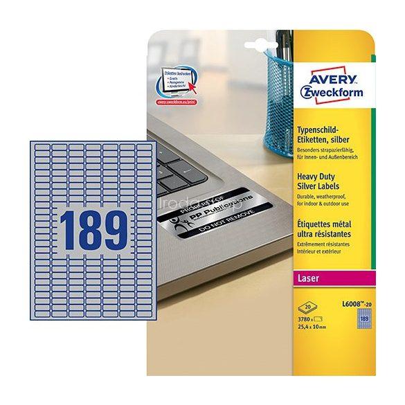 Etikett címke speciális L6008-20 ipari ezüst poliészter 25,4x10mm 20ív Avery