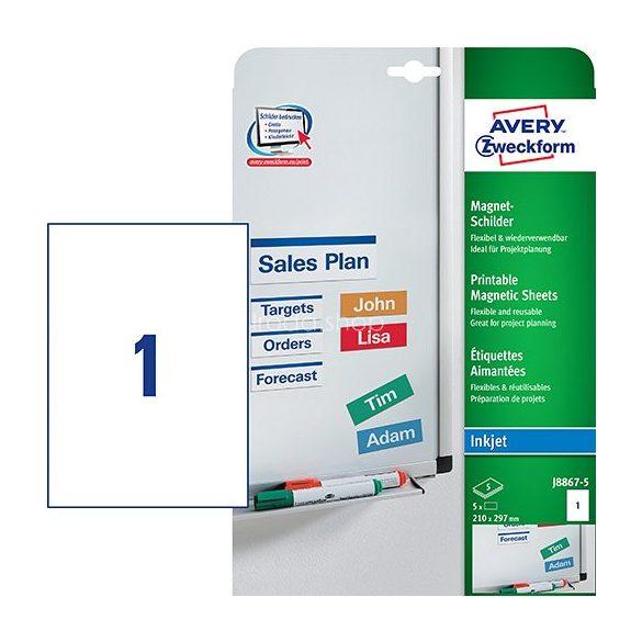 Etikett címke speciális J8867-5 mágneses fehér 210x297mm Avery