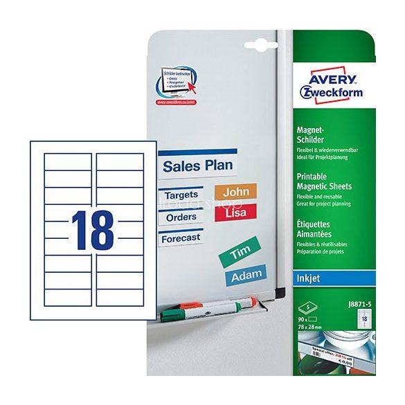 Etikett címke speciális J8871-5 mágneses fehér 78x28mm  5ív Avery