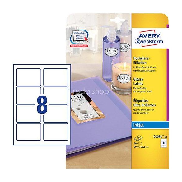 Etikett címke speciális C6081-10 fényes fotóminőségű 88,9x63,5mm 10ív tintasugaras Avery