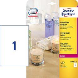 Avery Etikett címke speciális L7784-25 víztiszta átlátszó lézer/színes lézer 210x297mm
