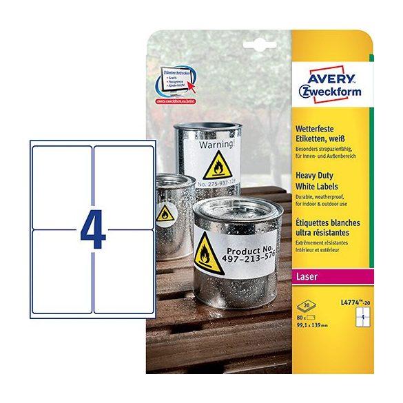 Etikett címke speciális időjárásálló poliészter címke 99,1 x 139 mm Avery