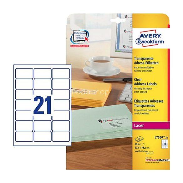 Etikett címke címzés L7560-25 QuickPEEL átlátszó poliészter C6 borítékra 63,5x38,1mm Avery