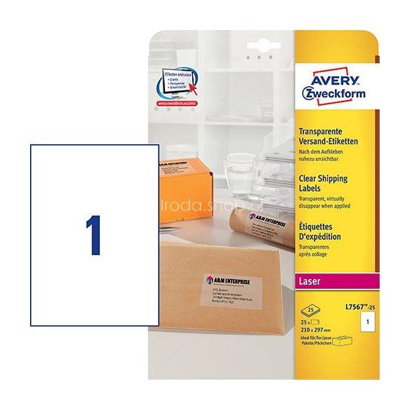Etikett címke címzés L7567-25 QuickPEEL átlátszó poliészter A4 borítékra,  210x297mm Avery