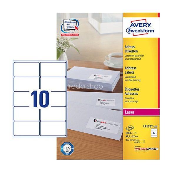 Etikett címke címzés L7173-1004/C5 borítékra QuickPEEL C99,1x57mm Avery