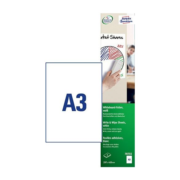 Etikett címke speciális 70702 írható és szárazon törölhető öntapadó fólia A3 Avery