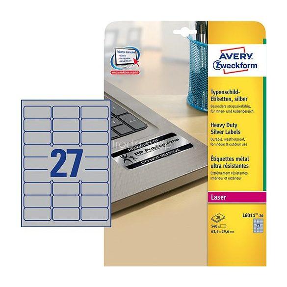 Etikett címke speciális L6011-20 ipari ezüst poliészter címke 63,5 x 29,6 mm Avery