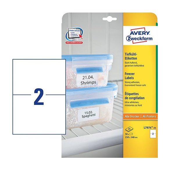 Etikett címke speciális L7974-25 fagyasztó címke 210 x 148 mm Avery