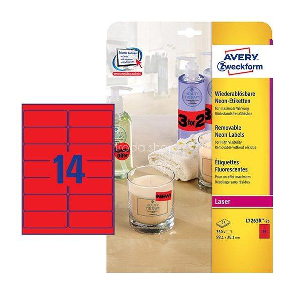 Etikett címke speciális visszaszedhető L7263R-25 neonpiros címke 99,1 x 38,1 mm Avery