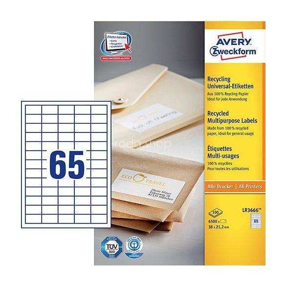 Etikett címke univerzális újrahasznosított LR3666 38x21,2mm Avery