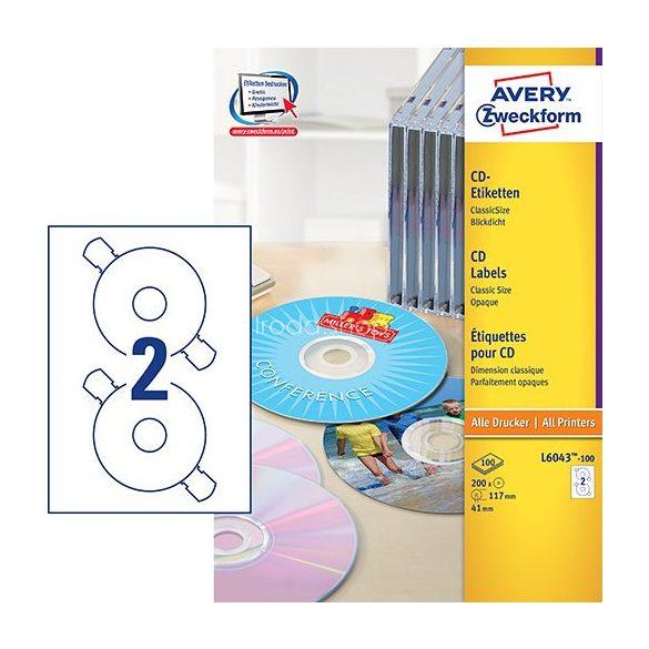 Etikett címke Media L6043-100  CD ClassicSize 117mm Avery