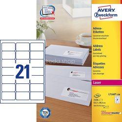 Etikett címke címzés L7160-100 C6 borítékra QuickPEEL 63,5x38,1mm Avery