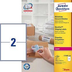 Etikett címke címzés L7168-100 csomagra kerekített sarkok QuickPEEL 199,6x143,5mm Avery