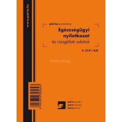 Eü.nyil. és vizsgálati adatok 8 lapos füzet 102x140 mm C.3151-2/A