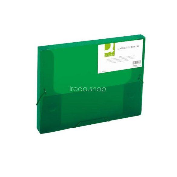 Iratgyűjtő gumis A/4 PP Q-Connect 25mm áttetsző zöld