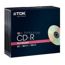 CD-R TDK 700MB 52x slim tokos 10db/csom