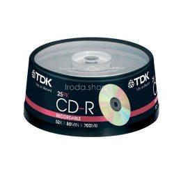 CD-R TDK 700MB 52x 25db cakebox/hengeres