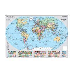 Falitérkép fémléccel 100x70cm Föld országai